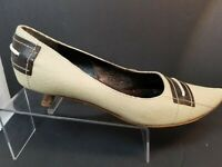 FENDI Fabric & Brown Leather Pumps Shoes Women's Size 37.5  7 MADE IN ITALY