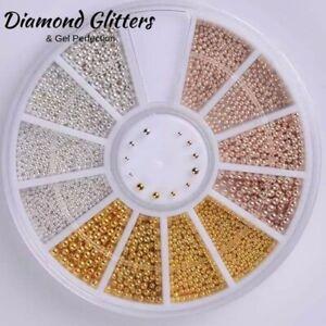 Nail Art Caviar Beads Balls Rose Gold Silver Round Studs Multi Size Wheel