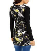 Thalia Sodi Women's Floral Long Sleeve Belted Cardigan, Black, Size L, $80 NWT