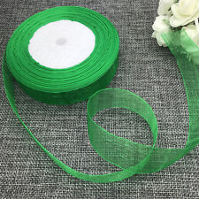 5 yards 2inch 50mm width Satin Edge Sheer Organza Ribbon Hair Bow Craft green