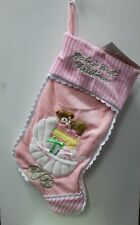 PINK BABY'S FIRST CHRISTMAS STOCKING Carriage Pram Girl Infant Holiday Decor NEW