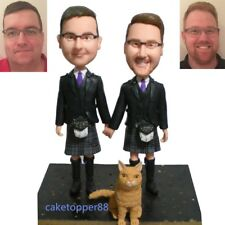 Custom Made Gay Man Couple Wedding Cake Topper Homosexual Wedding Figurine+a Dog