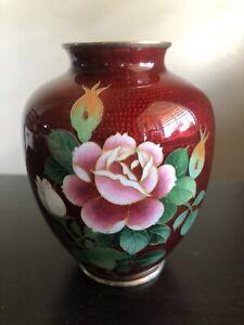 VTG Japanese Ginbari Red Pigeon Blood Cloisonne Flower Vase Handmade Art