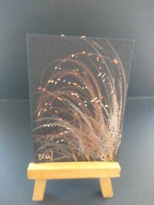 ELW Original, Aceo Cards.  Shimmering grasses Black paper, special shimmer paint