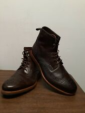 Hugo Boss Men's Sz 42 US 11 Dark Brown Leather Wingtip Ankle Boots 50271711