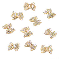 10pcs Bow Tie Alloy 3D Rhinestone Nail Art Tips Slice Decoration TS