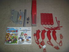 Nintendo Wii Red System Console 4 Player Mario Kart Bundle 4 Remotes & Nunchuk