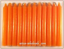 """Lot of 12 x 6"""" Taper Spell Candles: ORANGE (Pagan Wicca Altar Ritual Household)"""