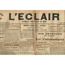 """L'ÉCLAIR 3-11-1915 Rugby BÉZIERS-NARBONNE 14 à 0 """"Pèr la Belgico"""" Élisabeth DODE"""