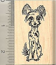 Chinese Crested Hairless Rubber Stamp F7510 Wm dog sit