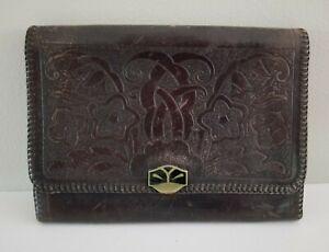 Antique Art Nouveau Arts & Crafts Antique Tooled Leather Purse Clutch Bag