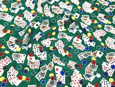 1  2/3 yd  Poker Game Cotton Quilt Timeless Treasures Green   Fabric  BFab