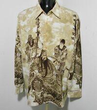 Mens South Pole Aloha Dress Shirt Large Asian Samurai Japan Korea Hawaiian XXL