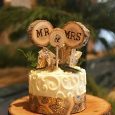 3X Wood Wooden Mr & Mrs Wedding Cake Topper Stick Rustic Anniversary Party Decor