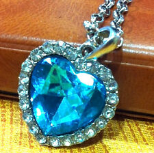 Medium Size Heart of the Ocean Chain Necklace Pendant Titanic Blue & Silver Old