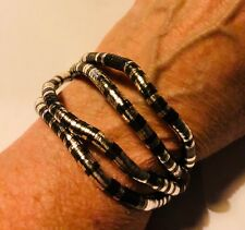"Fabulous Articulated Bendable Silver/Dk Blue or BlackSnake Bracelet/Necklace 35"""