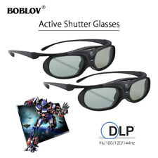 2Pcs 3D Active Shutter Glasses DLP-Link USB 96Hz/144Hz Black For BenQ Acer Sony