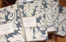 Pottery Barn Set 2 Damask Drapes Blue 108 Pole Curtain Belgian Flax Linen Sheer