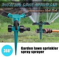 360°Garden Lawn Rotat Sprinkler 3-Arm Outdoor Irrigation Spray Sprinkle Water