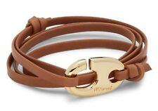 Miansai Yellow Gold & Leather Wrap Bracelet
