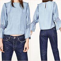 SALE Premium Blue Denim Blouse Long Sleeve Top Size XS UK 6 US 2 Blogger ❤