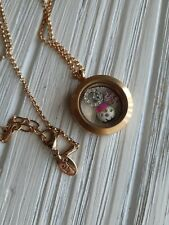 Origami Owl Necklace Floating Locket, charms Crystal Crown Peace sign, Gold tone