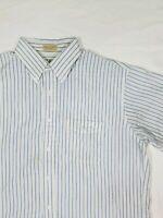 LL Bean Short Sleeve Button Up Shirt Blue And White Striped. #A2.