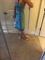 BCBGMAXAZRIA Teal Dress Razor-cut Ruche Bottom Midi Dress Prom Gala Party Sz 4