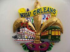 """New Orleans ORNAMENT w/Free Bag Fleur De Lis Scenery Christmas favor """"L"""" gift"""