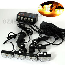 16 LED Yellow Bulbs Warning Strobe Flash Light 8 Bars Deck Dash Grille Car Lamps