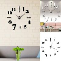 3D DIY Wall Clock Home Modern Decoration Crystal Mirror Sticker Living Room