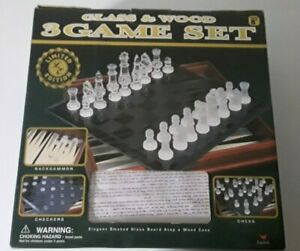 CARDINAL LIMITED EDITION WOOD AND GLASS 3 GAME SET