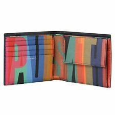 "PAUL SMITH ""TYPO"" Leather Print Interior multi stripe COIN & billfold Wallet"