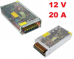 Alimentatore trasformatore 12V 20A stabilizzato switching 20 Ampere trimmer led