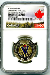 2020 CANADA $2 TOONIE NGC GEM UNC COLORIZED WWII V-E DAY VE-DAY FIRST RELEASES