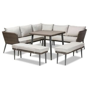Modern Contemporary and Brown Finished 5-Piece Woven Rattan Outdoor Patio Set