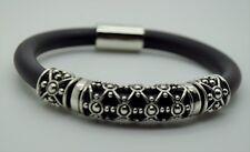 B407 Elegant design silver unique shape  Round Rubber Magnetic fashion bracelet