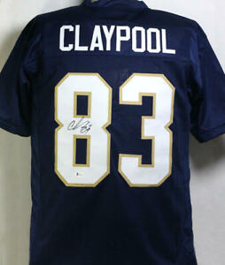 Chase Claypool Autographed Navy Blue College Style Jersey - Beckett W Auth *8