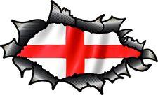 FIBRA di Carbonio Fibra RIPPED TORN METAL St Georges Cross Inghilterra Bandiera Adesivo Auto