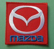 MOTOR RACING CAR SEW ON / IRON ON PATCH:- MAZDA (a) RED BLOCK SILVER WINGS