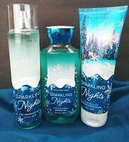 Bath Body Works Sparkling Nights Fragrance Mist Body Cream Shower Gel Set New