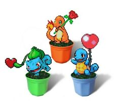 Pokemon Valentine Figure in Pot, Hama Beads, Bulbasaur, Squirtle, Charmander