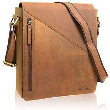 ECHT LEDER Umhängetasche Schultertasche Notebook Laptop Tasche Vintage Braun 834