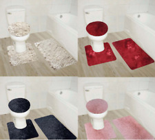 BATHROOM SET BATH MAT CONTOUR RUG TOILET LID COVER NEW IN SOLID COLORS  3PC #9