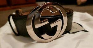 Gucci Mens Belt Navy GG Size 90cm