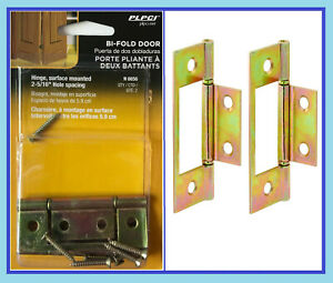 NEW -- Prime-Line Brass Plated Surface Mounted Bi-Fold Door Hinges 2-Pack N-6656