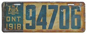 Ontario Canada 1918 License Plate, 94706, Antique, Garage Sign, Garden Art