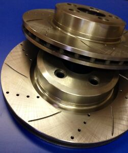 1 Pair x New Ford Falcon BF FG Turbo Front Disc Rotors Drilled & Slotted
