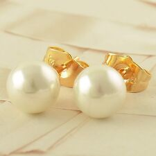 Stunning 9K Real Gold Filled Pearl Women's Stud Earrings,Z1945