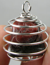 Africa 100% Natural Tumbled Rough Red Tiger-eye Crystal In Spiral Cage Pendant